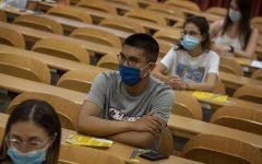 Students wearing masks in school.