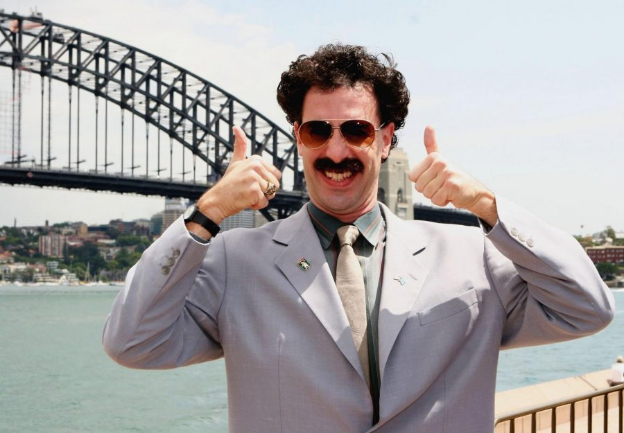 Borat excited about his second trip to America.