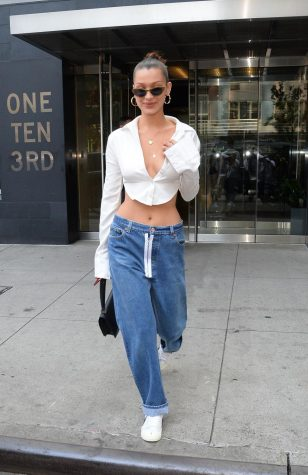 Bella Hadid wearing low rise jeans in 2018