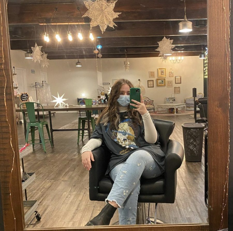 Marley in the salon chair at Studio Eleven